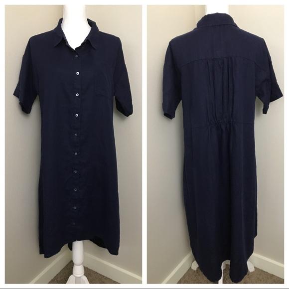 165ff8d315 Eileen Fisher Classic Collar Linen Shirt Dress